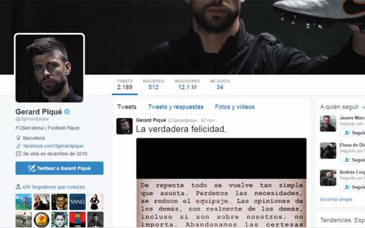 �A qui�n va dirigido el �ltimo mensaje de Piqu� en Twitter?