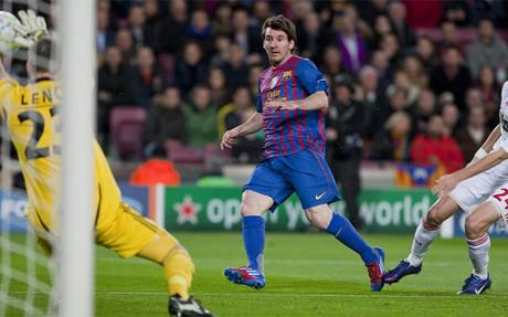 Messi marc� cinco goles al Bayer Leverkusen despu�s del �ltimo 1-3 del FC Barcelona en un partido de ida en eliminatoria europea