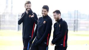 La plantilla del FC Barcelona en el entrenamiento del lunes 20 de noviembre de 2017