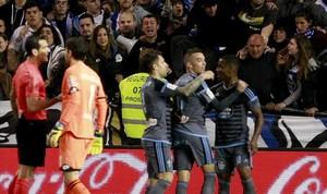 Iago Aspas celebra el gol que decidió el derbi gallego