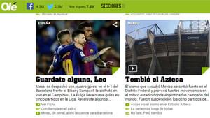Olé se manejó entre la admiración y el humor con la nueva exhibición de Messi