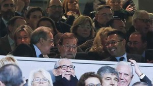 Florentino Pérez, junto a Mariano Rajoy y Josep Maria Bartomeu