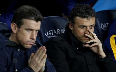 Luis Enrique, con Unzue en el banquillo de Mestalla
