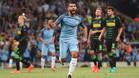 Sergio Ag�ero cant� gol tres veces en el debut del City en esta Champions League
