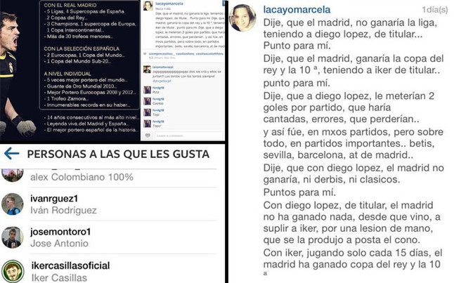 izquierda fotografia junto gusta casillas derecha texto 1407426559022 Casillas likes Instagram page criticizing Lopez, Arbeloa RTs book calling Iker a tumor on Real Madrid