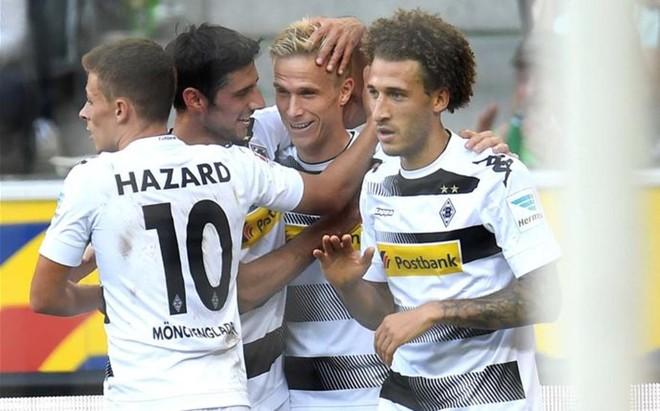 Oscar Wendt celebra el gol de la sentencia para el M'Gladbach