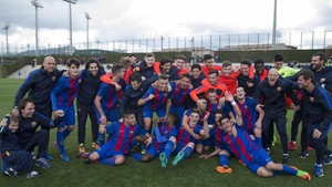La plantilla celebró el título en la Ciudad Deportiva Joan Gamper