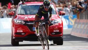 Nairo Quintana en la llegada a Bormio