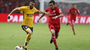 Augusto disputó la primera mitad del amistoso ante el Toluca