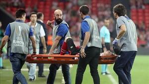 Muniain fue retirado en camilla poco antes del final del partido ante el Zorya