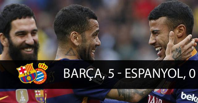 El derbi entre el FC Barcelona y el RCD Espanyol acabó en 'Tridentazo'