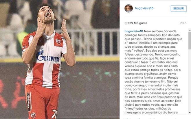 El mensaje que colg� Hugo Vieira en las redes sociales.