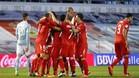 El Sevilla celebra un gol ante el Celta.