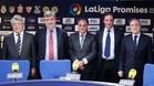 Tebas se alegra de las buenas nuevas para el Real y el Atl�tico de Madrid
