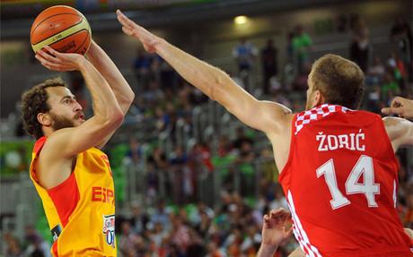 Sergio Rodr�guez lider� la victoria de Espa�a ante Croacia.