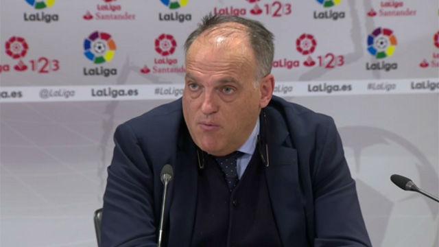 Tebas dice que Piqué se equivocó en sus declaraciones sobre el Real Madrid
