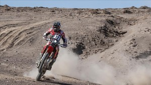 Benavides, durante la cuarta etapa del Rally Atacama