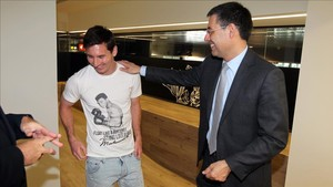 Messi y Bartomeu, en las instalaciones del Barça