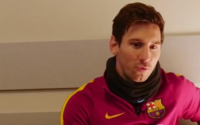 Leo Messi durante la entrevista en la web oficial de Neymar�