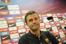 Luis Enrique en la sala de prensa de la Ciutat Esportiva Joan Gamper