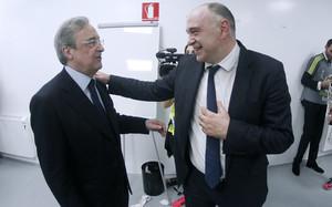 Florentino felicitó a Pablo Laso tras el triunfo en la Copa