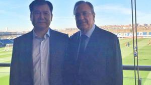 Florentino Pérez con el presidente del Inter de Milán