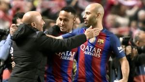 Sampaoli, con Neymar y Mascherano
