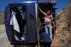 El autob�s de Hurac�n, tras el accidente