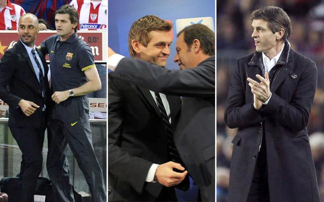 Vilanova, durante su etapa de segundo de Guardiola, con Rosell el día de su presentación como primer entrenador, y en el último Barça-Atlético