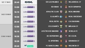 Estos son los horarios de la jornada 28 de la Liga Santander