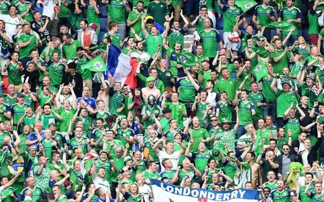 La afici�n de Iralnda del Norte, durante un partido de la Eurocopa