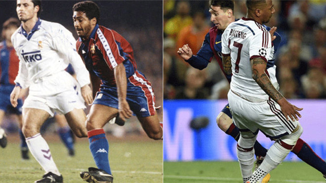 Duelo de regates entre Romario y Leo Messi