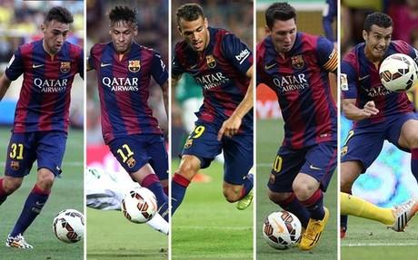Los cinco delanteros del Bar�a