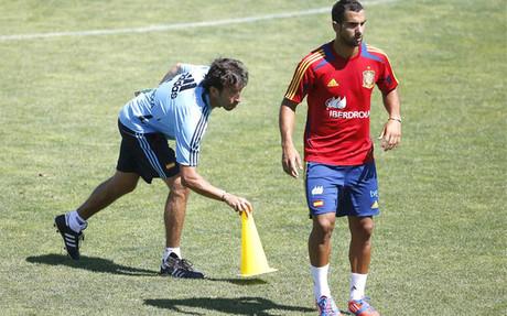 Luis Milla y Mart�n Montoya coincidieron en la selecci�n sub-21