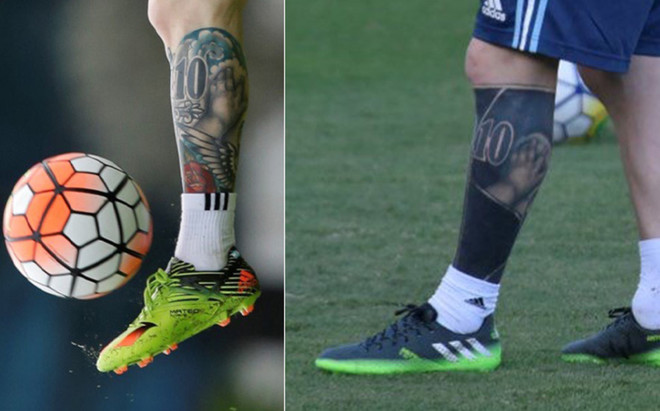 Lionel messi shows off his new heavily for Messi thiago tattoo