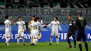 El Kashima Antlers celebró la clasificación ante un desolado Atlético Nacional