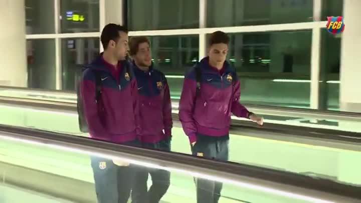 El Bar�a estren� uniforme en el viaje a Villarreal