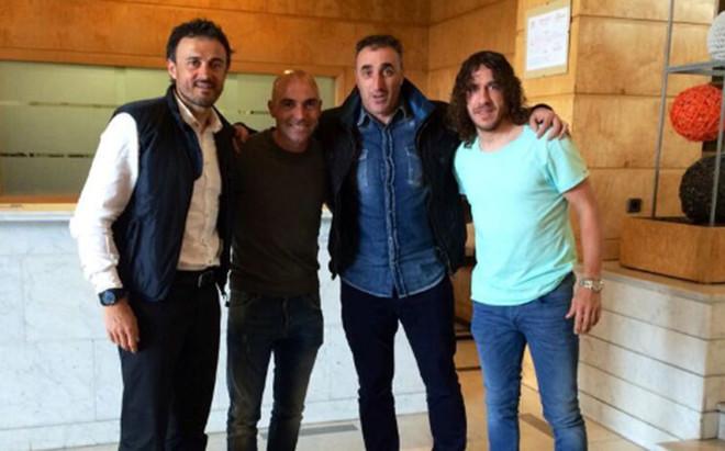 Ballesteros junto a Luis Enrique, De la Pe�a y Puyol