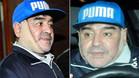 Maradona, con el aparatoso vendaje que luc�a tras someterse a una cirug�a est�tica maxilofacial