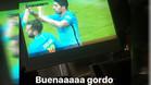 Neymar celebró el gol de Suárez ante el Osasuna