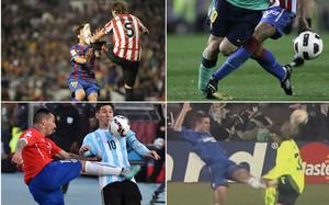 Messi acumula una larga lista de agresiones recibidas