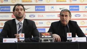 Garbajosa y Scariolo, durante la rueda de prensa que ofrecieron en la sede de la FEB