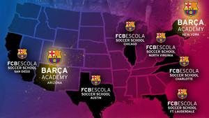 El mapa de las FCB Escolas en Estados Unidos