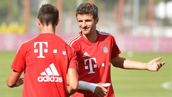 Müller, durante un entrenamiento esta pretemporada
