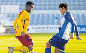 Kaptoum en un partido ante el Sabadell