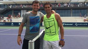 Rafa Nadal y Grigor Dimitrov, tras su entrenamiento en Manacor
