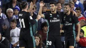 Bale y Mayoral celebrando un gol junto a Marco Asensio
