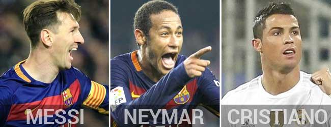 Messi, Neymar y Cristiano Ronaldo son los finalistas del Bal�n de Oro 2015