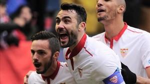 Iborra marcó dos de los cuatro goles sevillistas y uno a favor de Osasuna