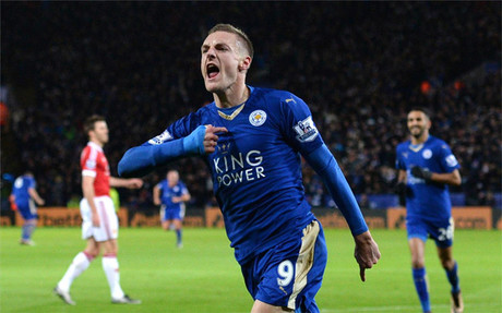 Jamie Vardy celebra un gol ante el Manchester United